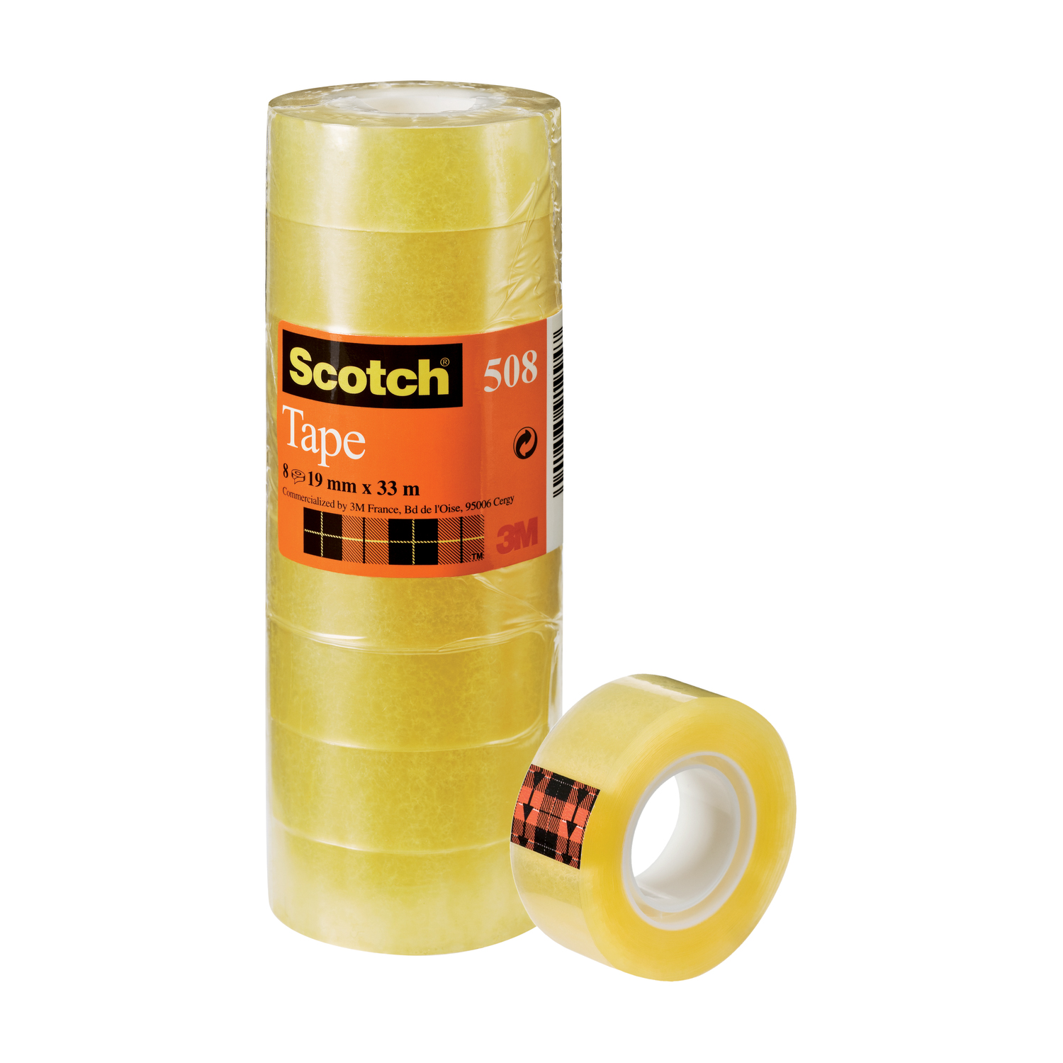 Transparent tape Scotch 508 Clear Tape 19mmx33m Clear Ref 7000033901 Pack 8
