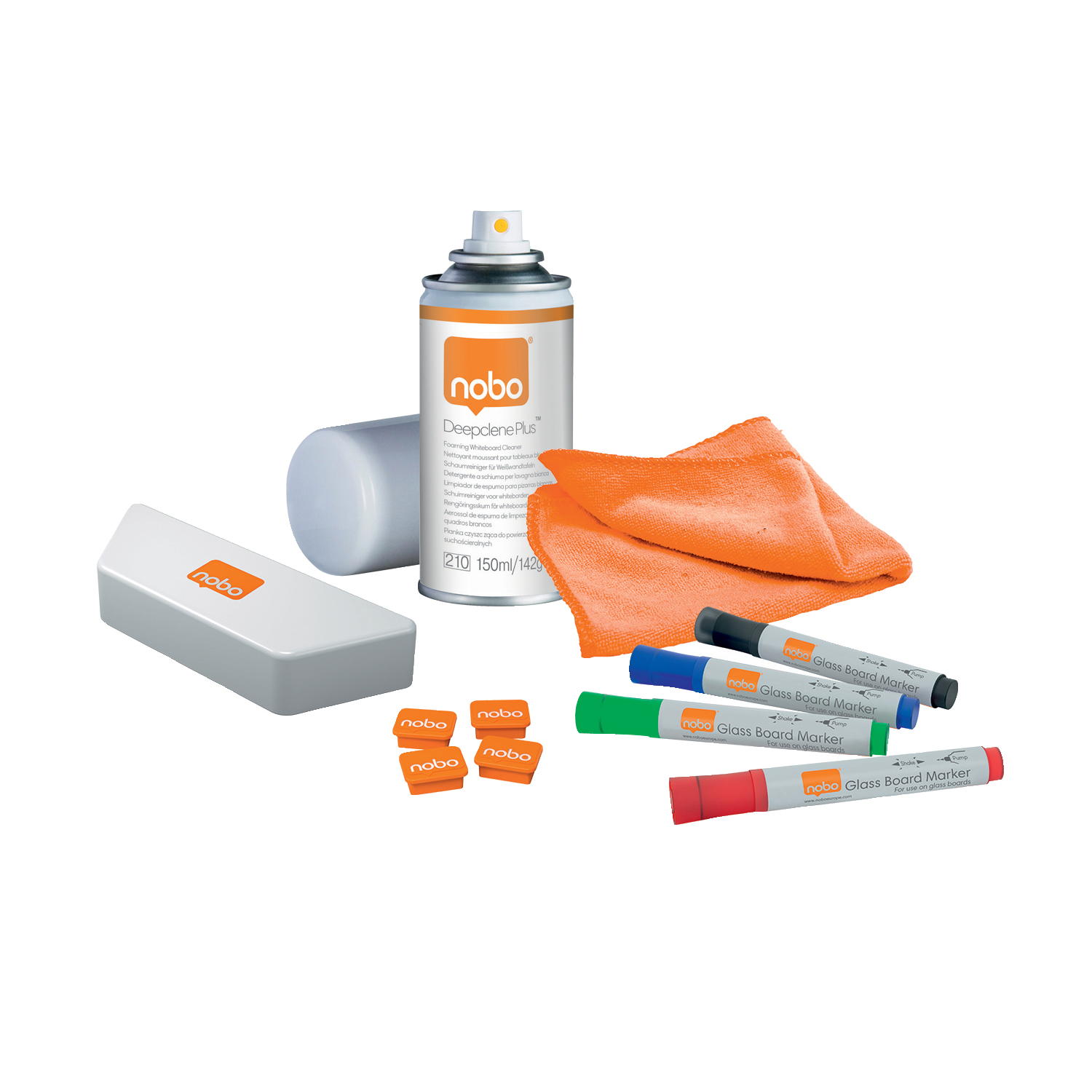 Nobo Whiteboard User Kit 4 Mrkrs/Eraser/Refills/Absorbent Cloths/25ml Cleaning Spray/Magnets Ref 1901430