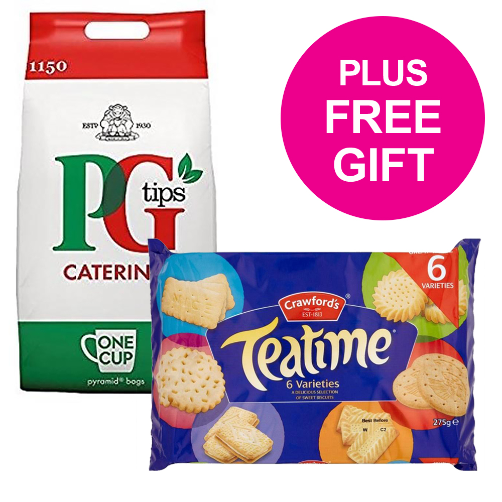 PG Tips Tea Bags Pyramid 1 Cup Ref 17948501 [Pack 1150] [FREE Biscuits] Jul-Sep 2018