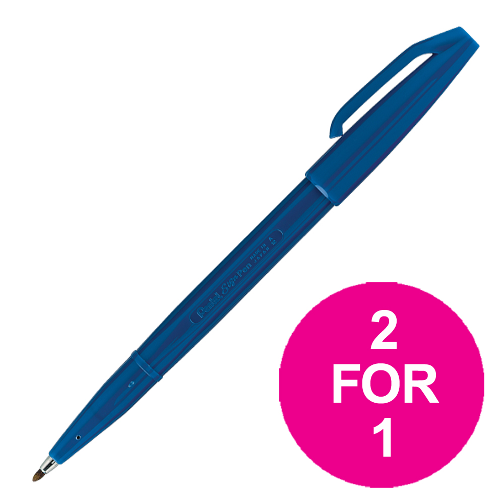 Pentel Sign Pen S520 Fibre Tipped 2.0mm Tip 1.0mm Line Blue Ref S520-C Pack 12 2 For 1 Jul-Sep 2018