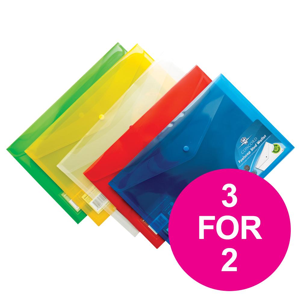 Concord Stud Wallet File Translucent Foolscap Assorted Ref 7095-PFL Pack 5 3 For 2 Jul-Sep 2018
