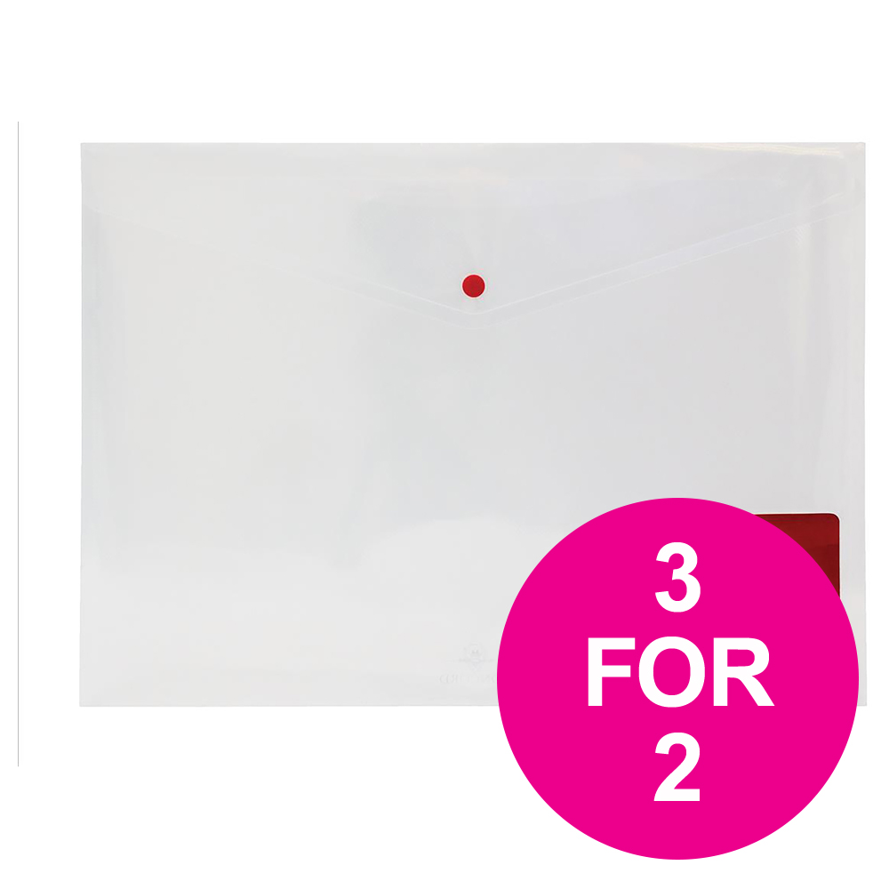 Concord Stud Wallet File Three Part Organiser A3 Clear Ref 7094-PFL Pack 5 3 For 2 Jul-Sep 2018