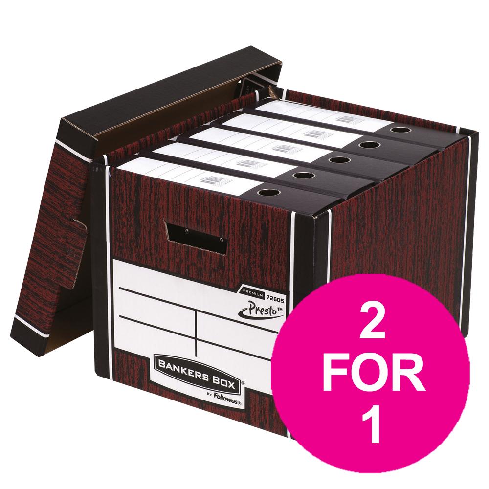 Bankers Box Premium Storage Box Tall FSC Woodgrain Ref 7260503 Pack 12 2 For 1 Jul 2018