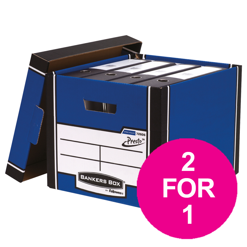 Bankers Box Premium Storage Box Tall FSC Blue and White Ref 7260603 Pack 12 2 For 1 Jul 2018