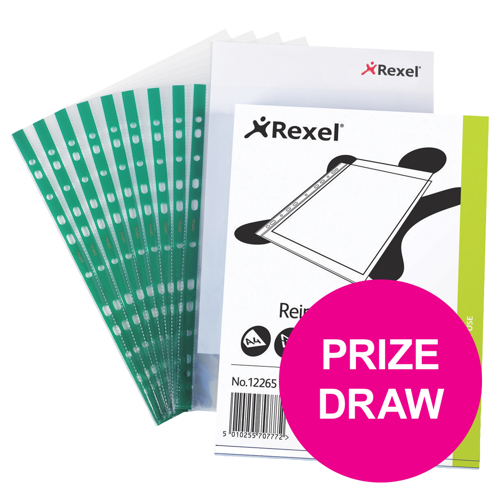 Rexel CKP Pocket Reinforced Green Strip Top-opening A4 Glass Clear Ref 12265 Pack 100 COMPETITION