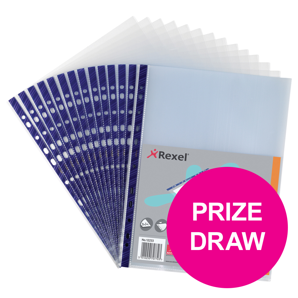 Rexel Nyrex Pocket Reinforced Blue Strip Top-opening A4 Clear Ref 12233 Pack of 25 COMPETITION