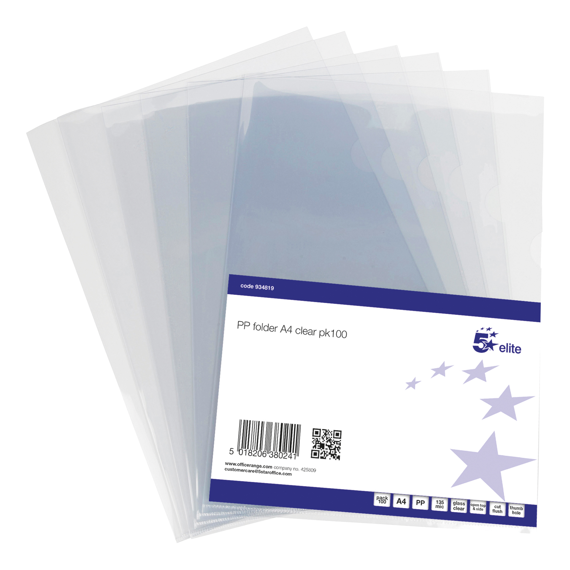5 Star Elite Folder Cut Flush PVC Top and Side Opening 135 Micron A4 Glass Clear Pack 100