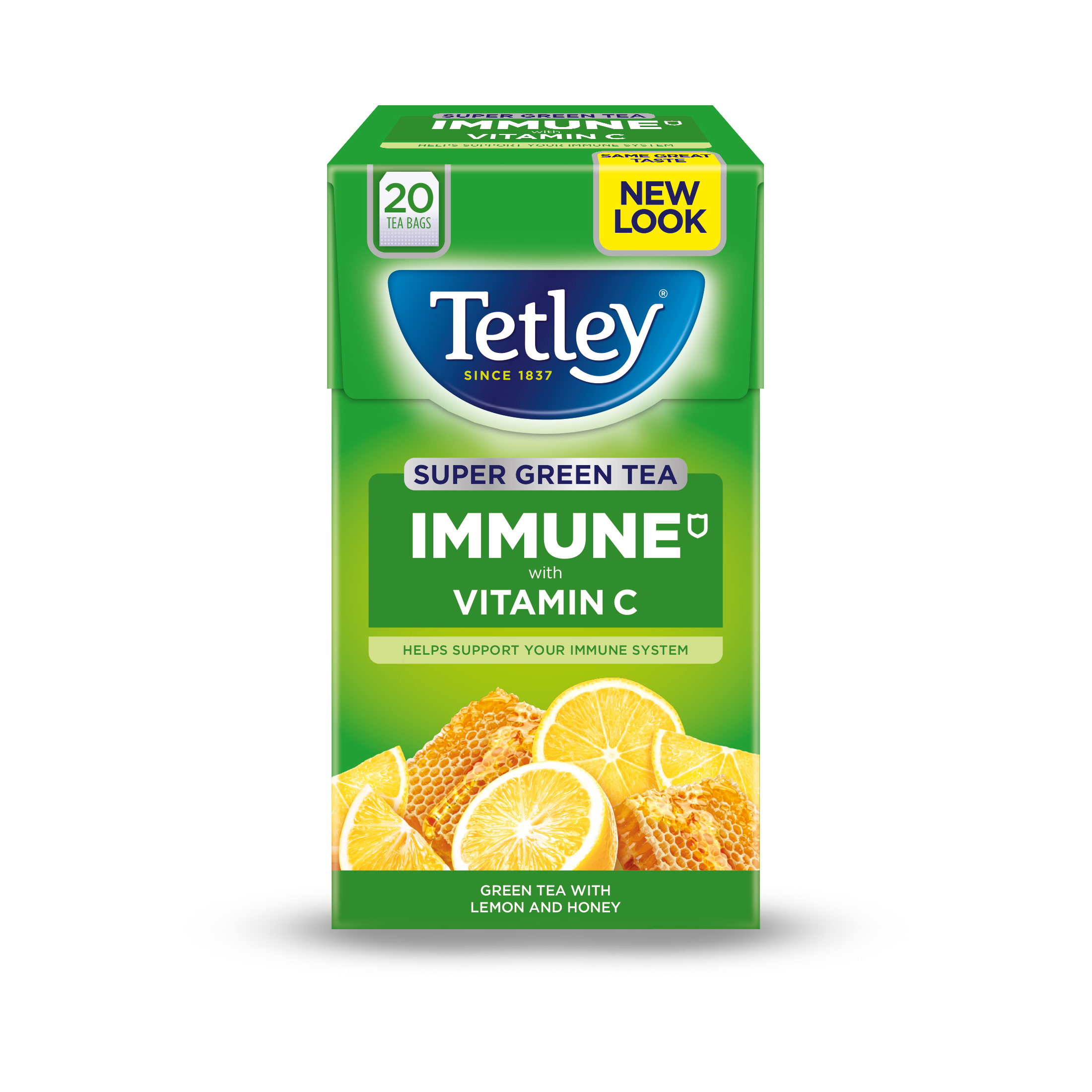 Tea Tetley Super Green Tea IMMUNE Lemon Honey with Vitamin C Ref 4619A Pack 20