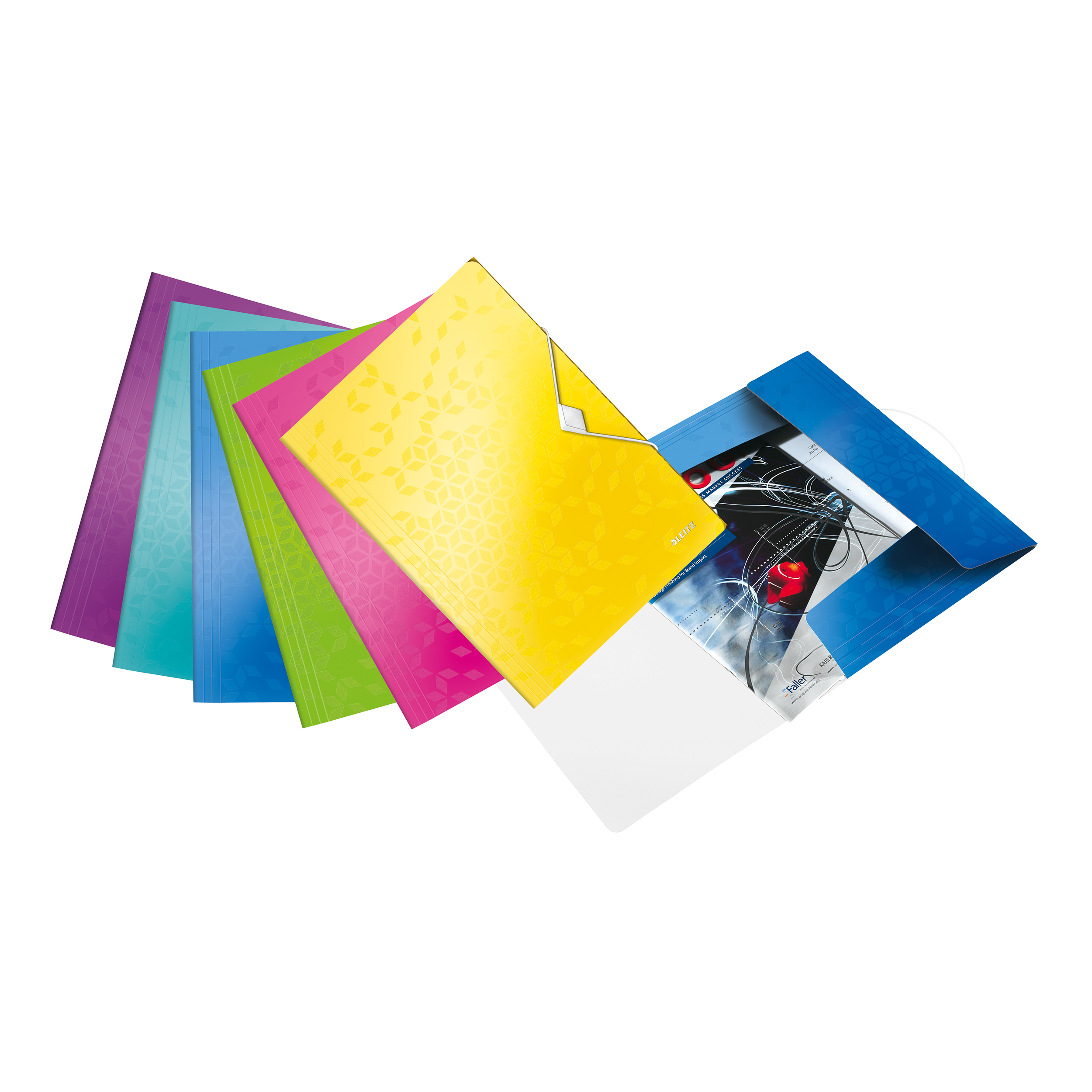Clip Files Leitz WOW 3 Flap Folder PP Elastic Straps A4 Assorted Ref 45990099 Pack 20