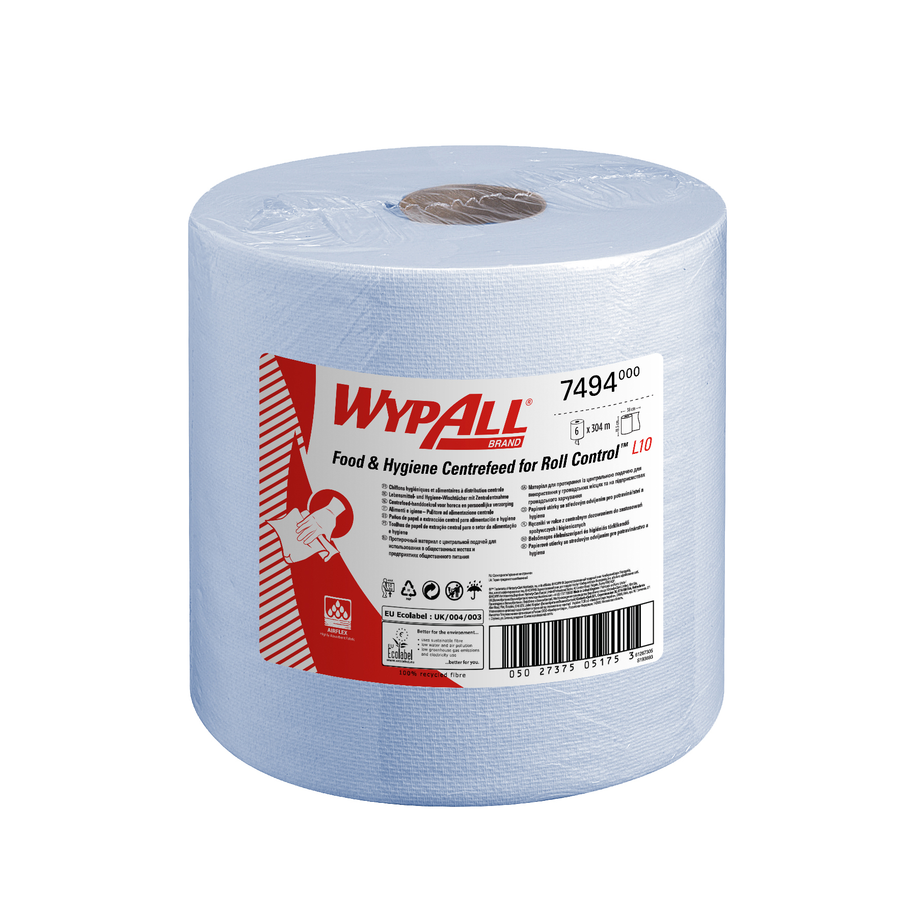 Paper towels WypAll L10 Centrefeed Hand Towel Roll Single Ply 380x185mm 630 Sheets per Roll Blue Ref 7494 Pack 6