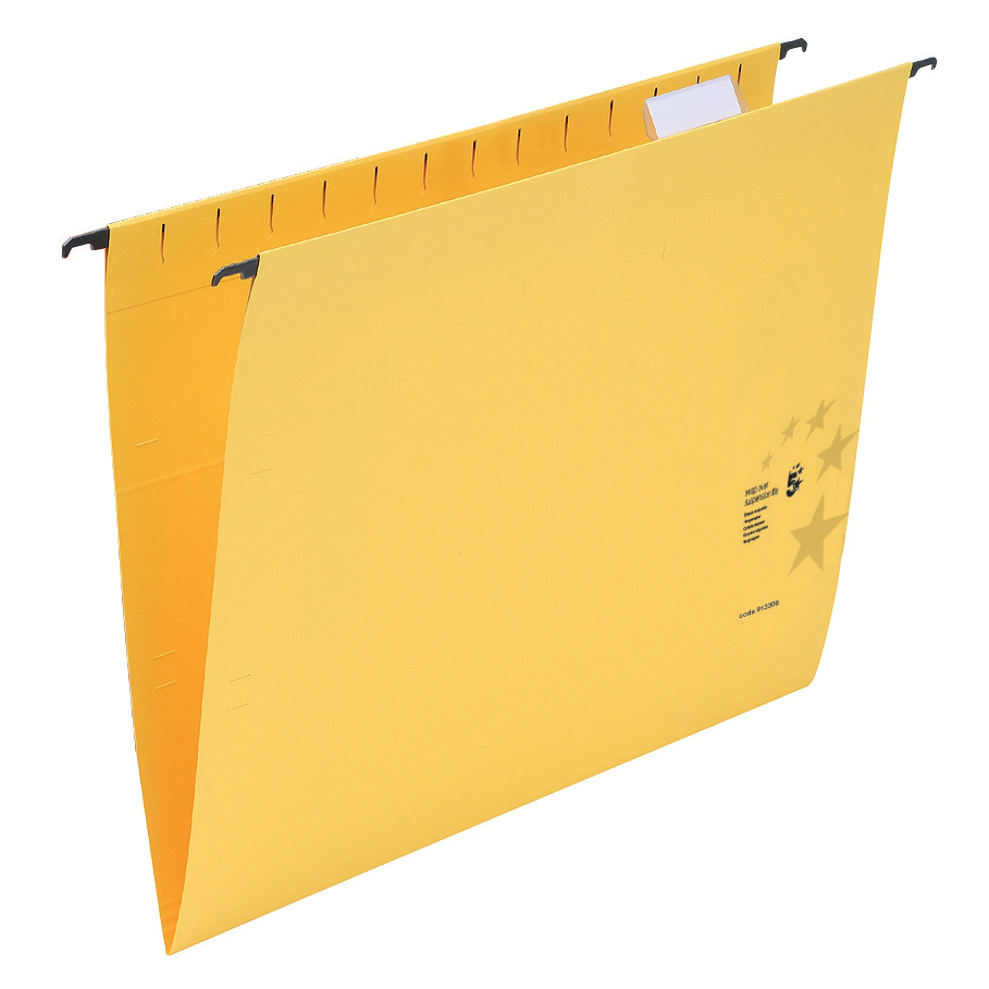 Business Suspension File Manilla Heavyweight with Tabs and Inserts Foolscap Yellow [Pack 50]