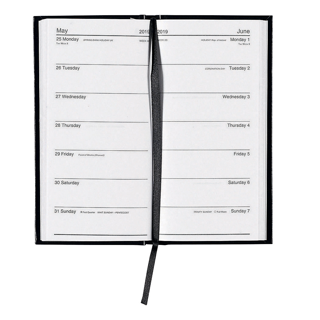 Business 2019 Slim Portrait Pocket Diary Two Weeks to View Casebound Sewn 80x160mm Black