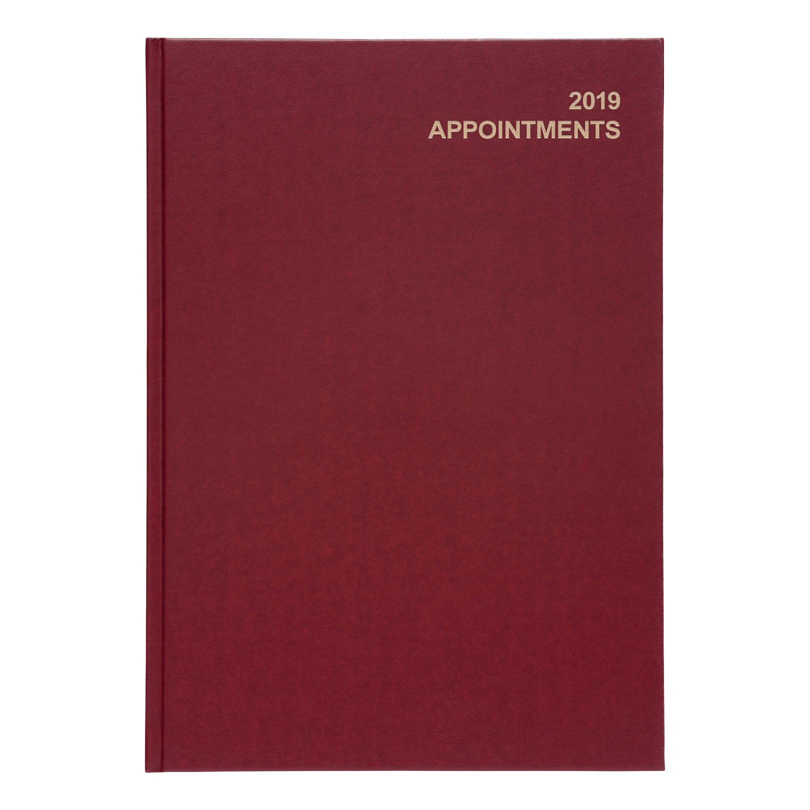 Business 2019 Appointment Diary Day to Page Casebound and Sewn Vinyl Coated Board A4 297x210mm Red