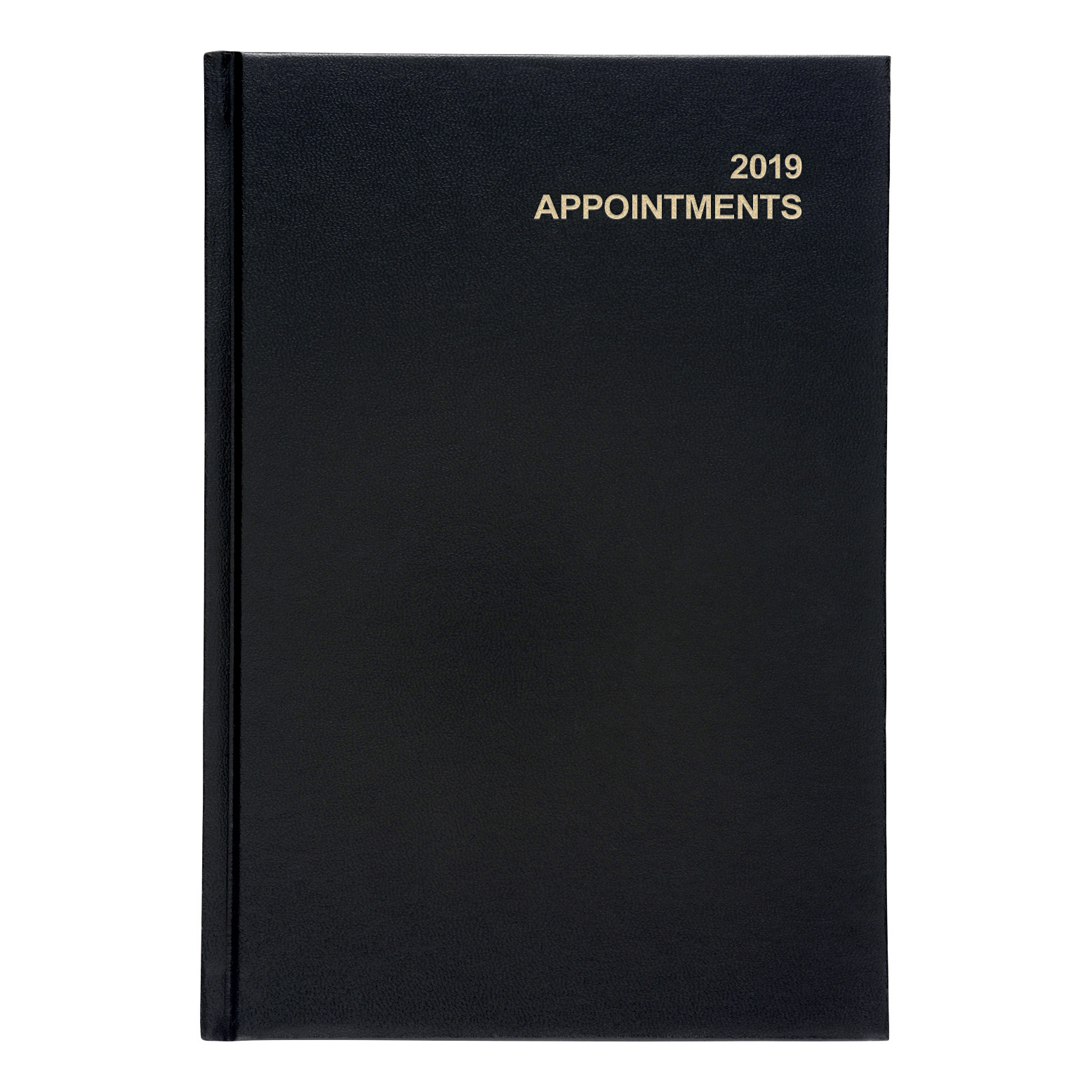 Business 2019 Appointment Diary Day to Page Casebound and Sewn Vinyl Coated Board A5 210x148mm Black