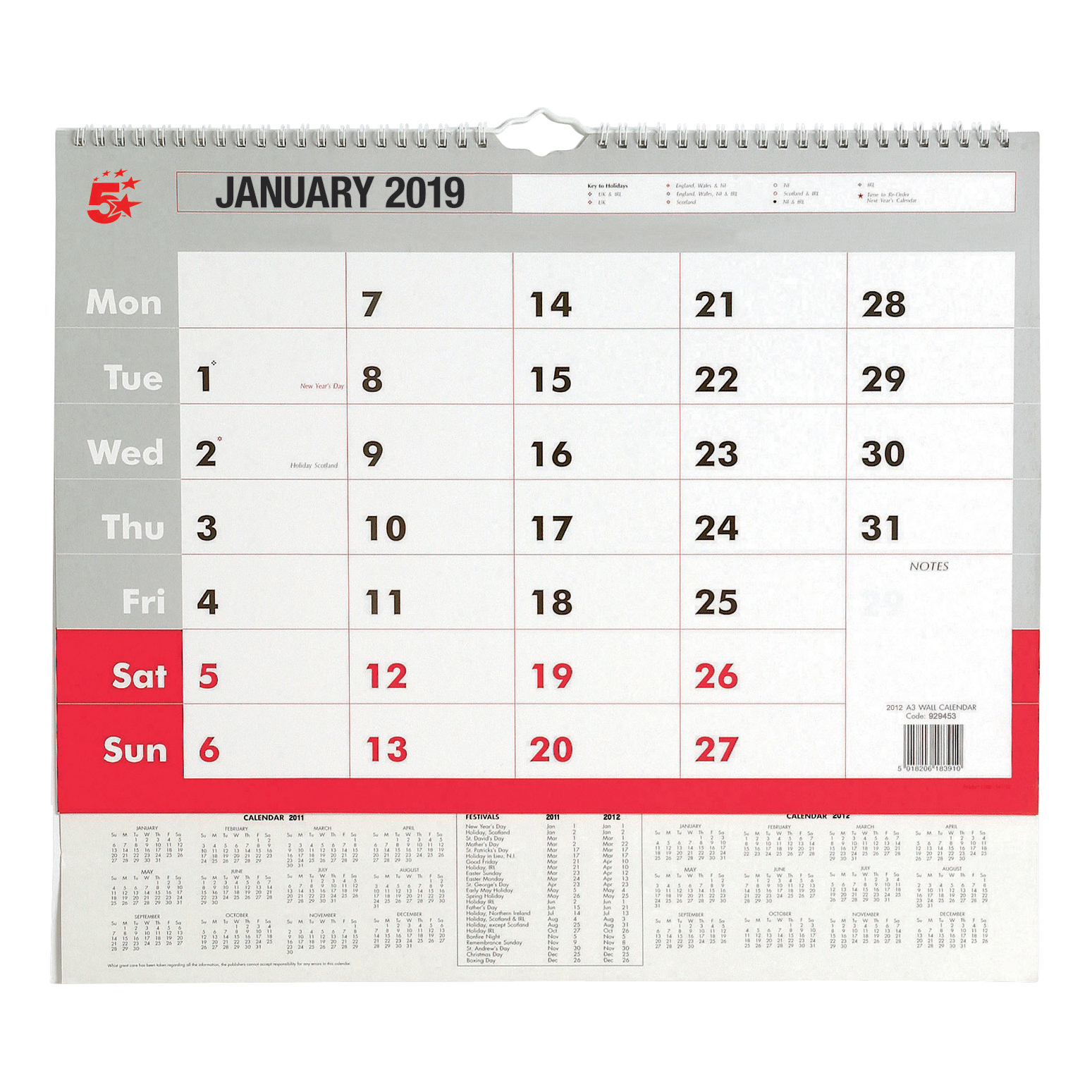 Business 2019 Wall Calendar Month to View Wirebound 135gsm Paper A3 297x420mm White/Red