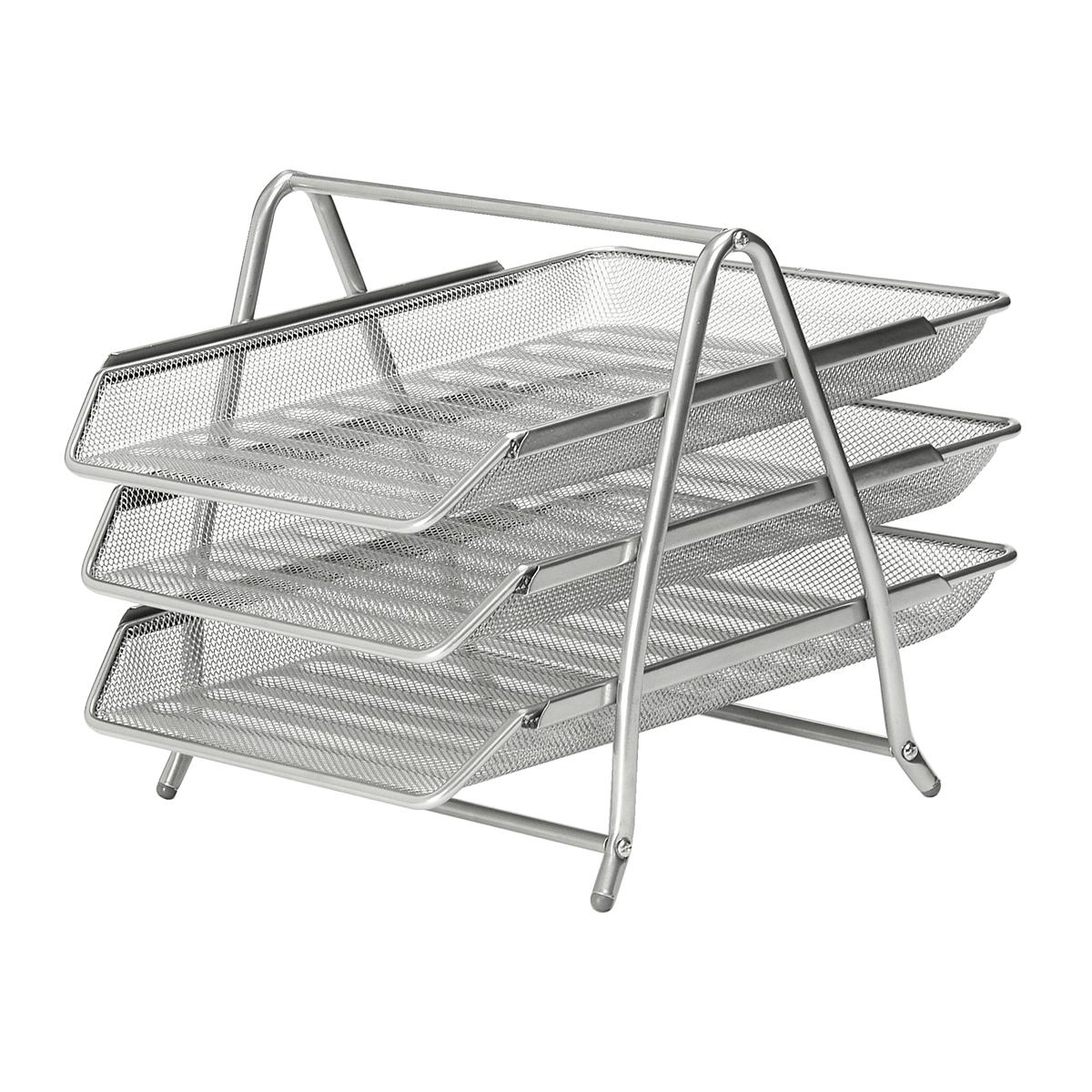 Business Mesh Letter Tray 3 Tier Scratch Resistant Stackable Front Load Portrait Foolscap Silver