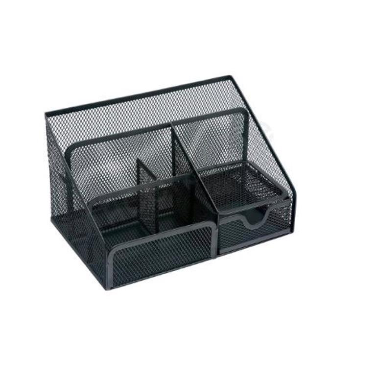 Business Desk Organiser Mesh Scratch Resistant with Non Marking Rubber Pads Black