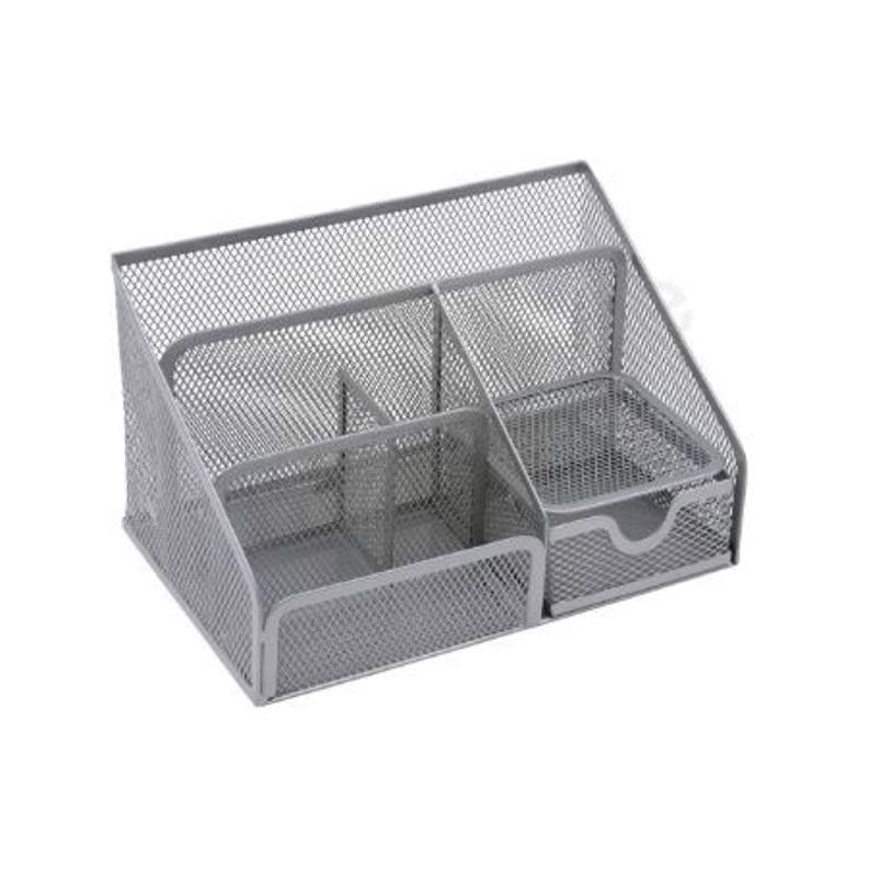Business Desk Organiser Mesh Scratch Resistant with Non Marking Rubber Pads Silver