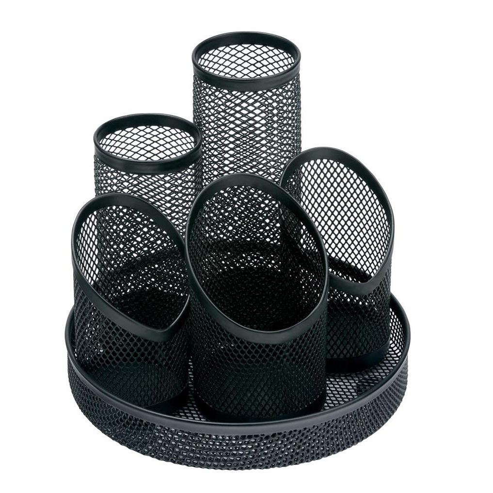 Business Pencil Pot Mesh Scratch Resistant with Non Marking Base 5 Tube Black
