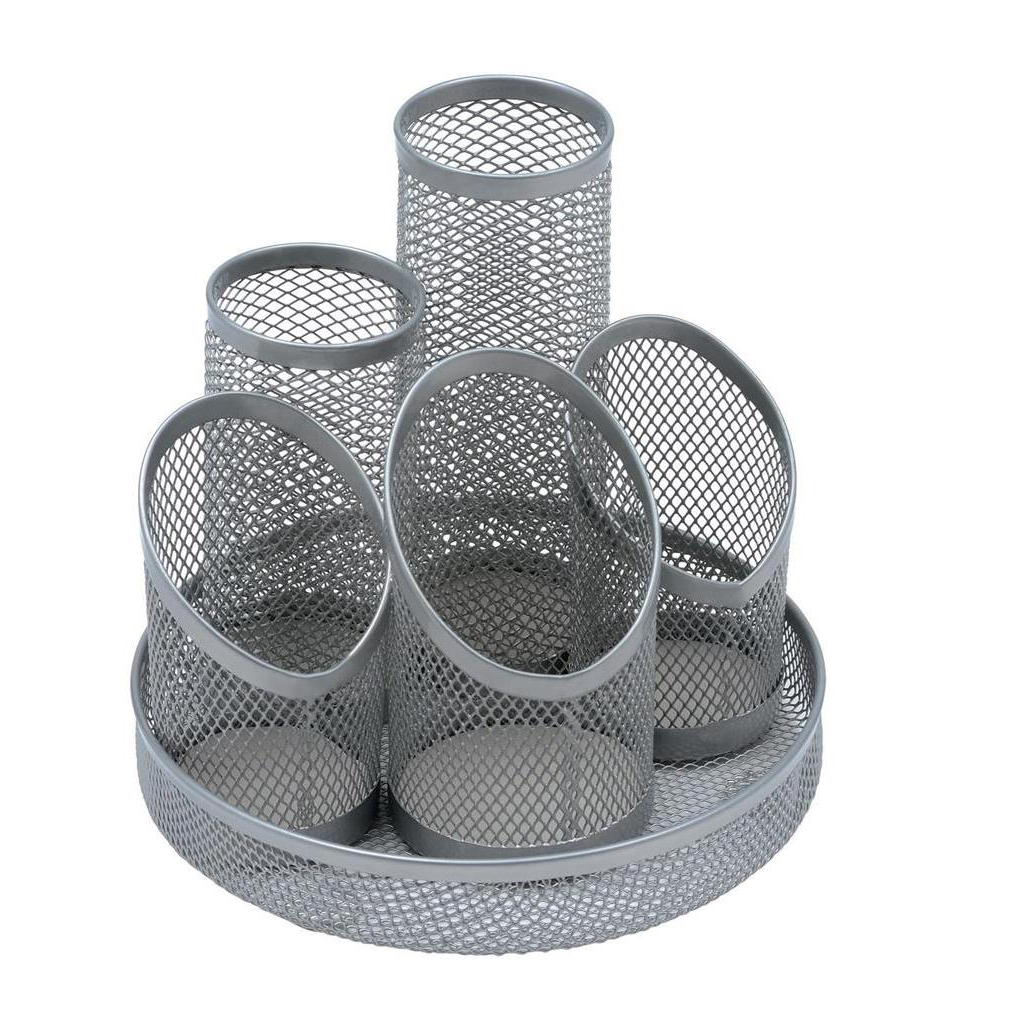 Business Pencil Pot Mesh Scratch Resistant with Non Marking Base 5 Tube Silver