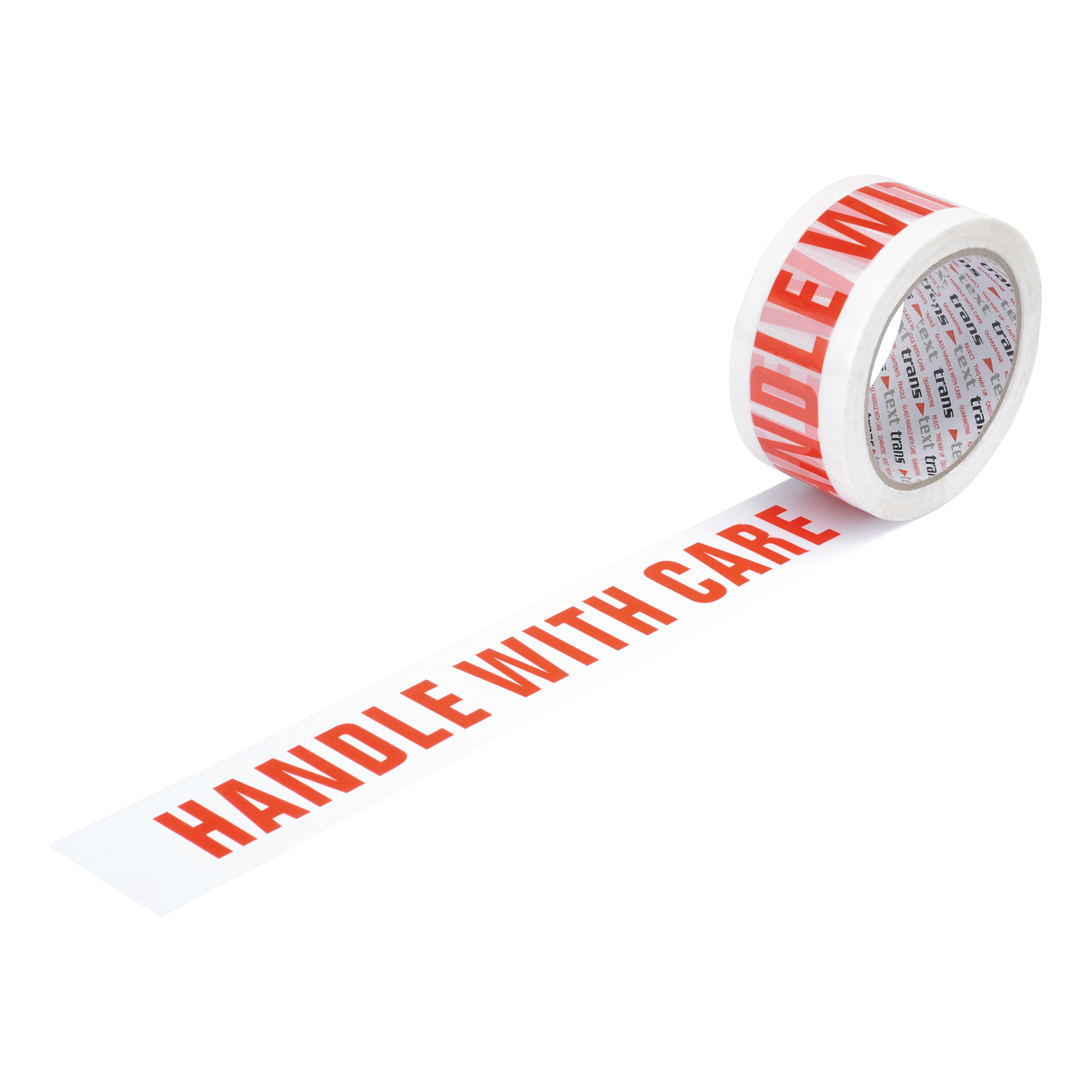 Business Printed Tape Handle with Care Polypropylene 50mm x 66m Red on White [Pack 6]