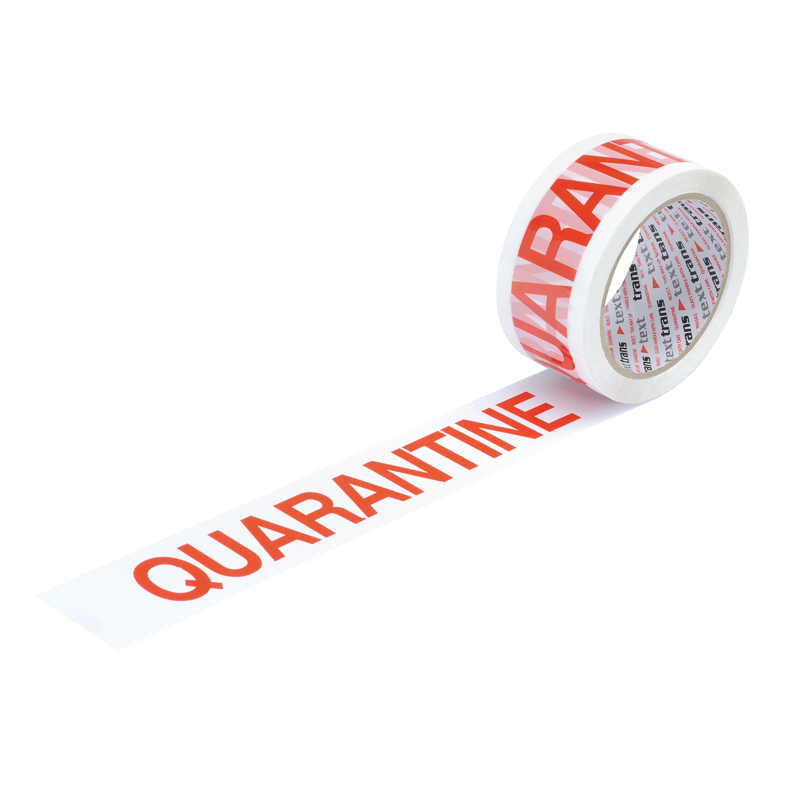 Business Printed Tape Quarantine Polypropylene 50mm x 66m Red on White [Pack 6]