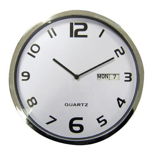 Business Wall Clock White With Date Grey Edge Ref 2120H