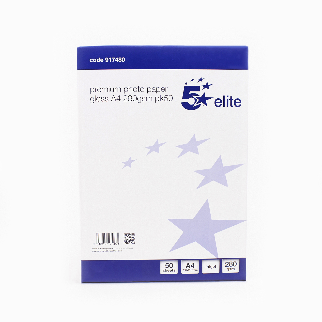 5 Star Elite Photo Inkjet Paper Gloss 280gsm A4 White 50 Sheets