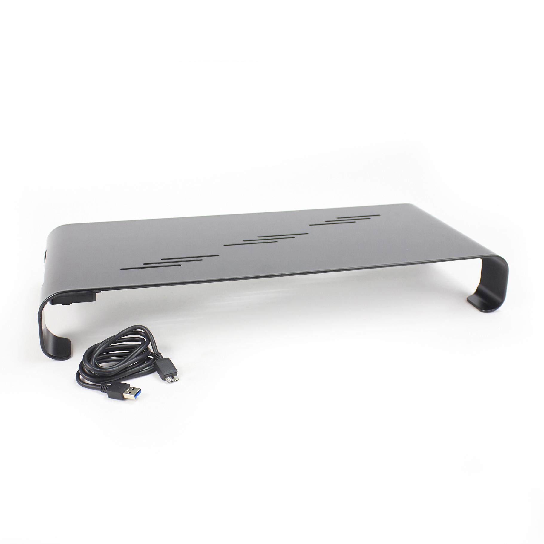 5 Star Office Monitor Stand Aluminium Four USB Ports 520x210x75mm Black