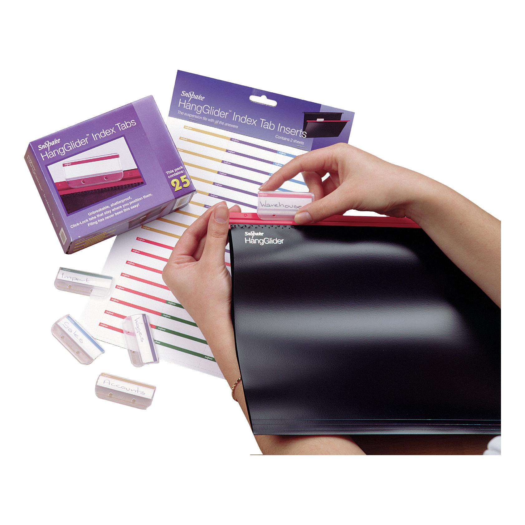 Snopake HangGlider Plastic Tabs for Suspension File Clear Ref 10278 Pack 25