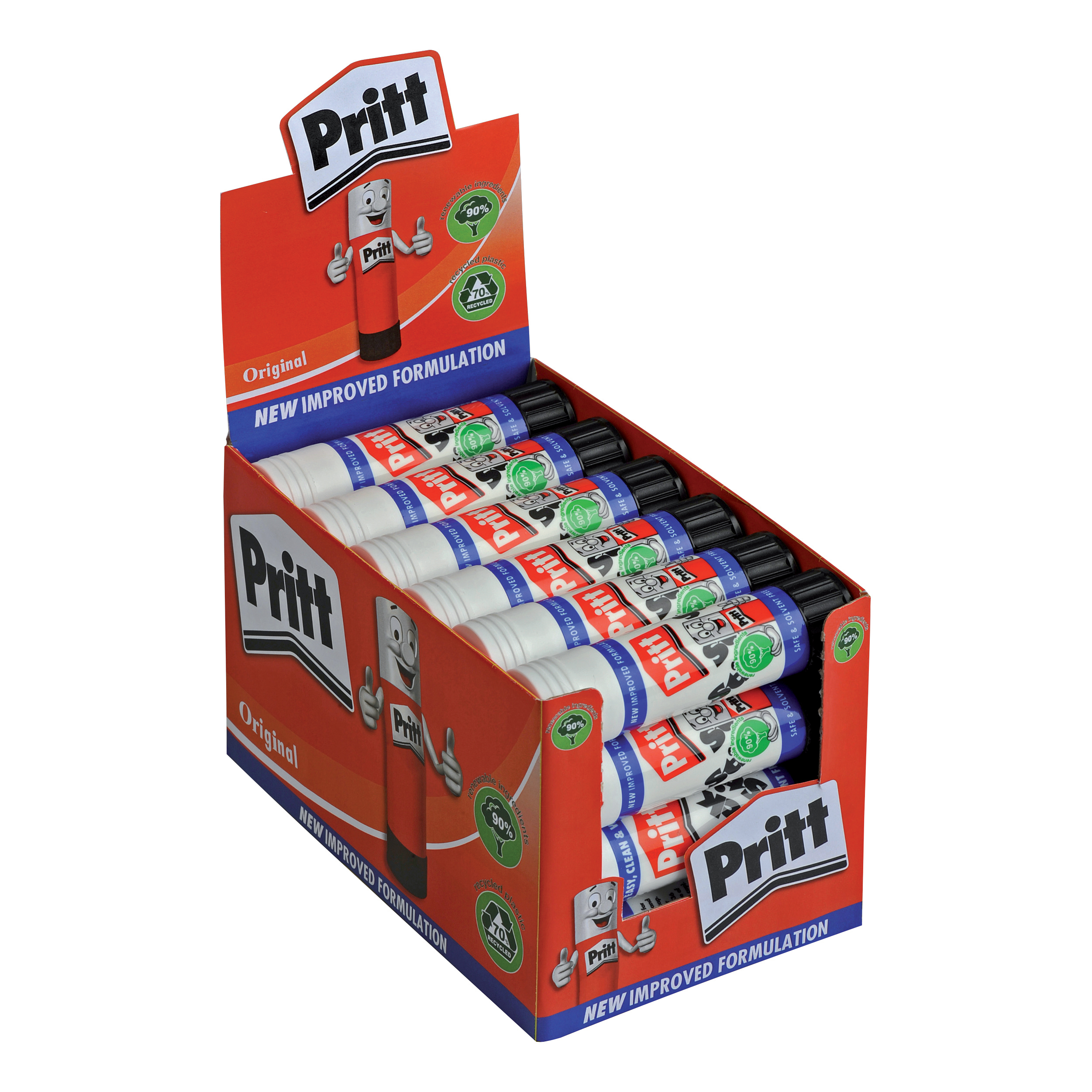 Pritt Stick Glue Solid Washable Non-toxic Large 43gm Ref 1564148 [Pack 96] [Bulk Pack] Jan-Dec 2019