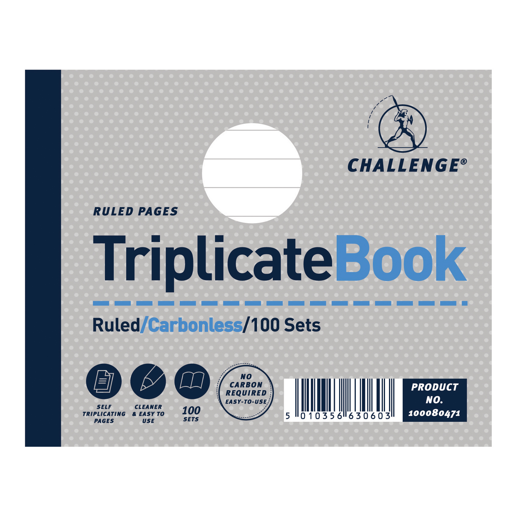 Triplicate Challenge Triplicate Book Carbonless Ruled 100 Sets 105x130mm Ref 100080471 [Pack 5]