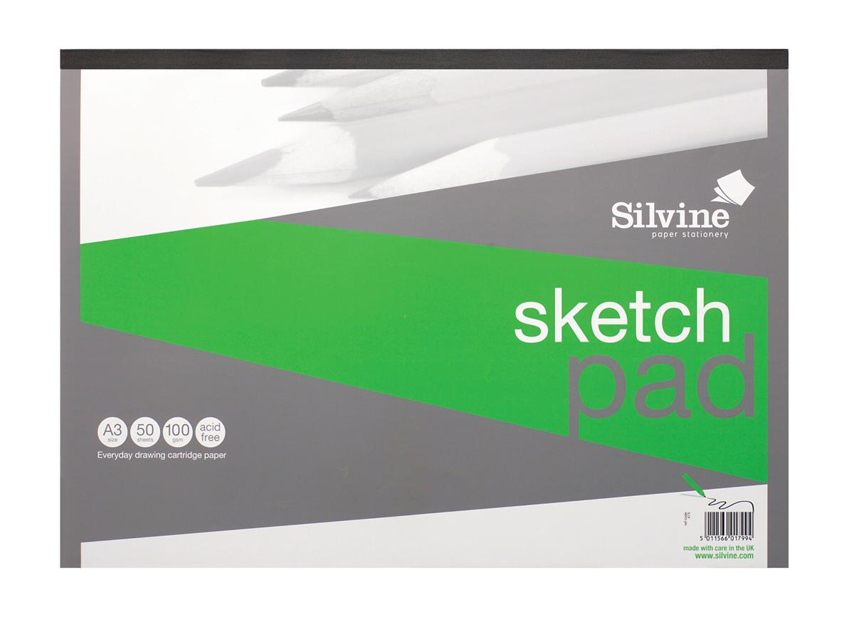 Image for Silvine Popular Drawing Pad Acid Free Cartridge Paper 100gsm 50 Sheets A3