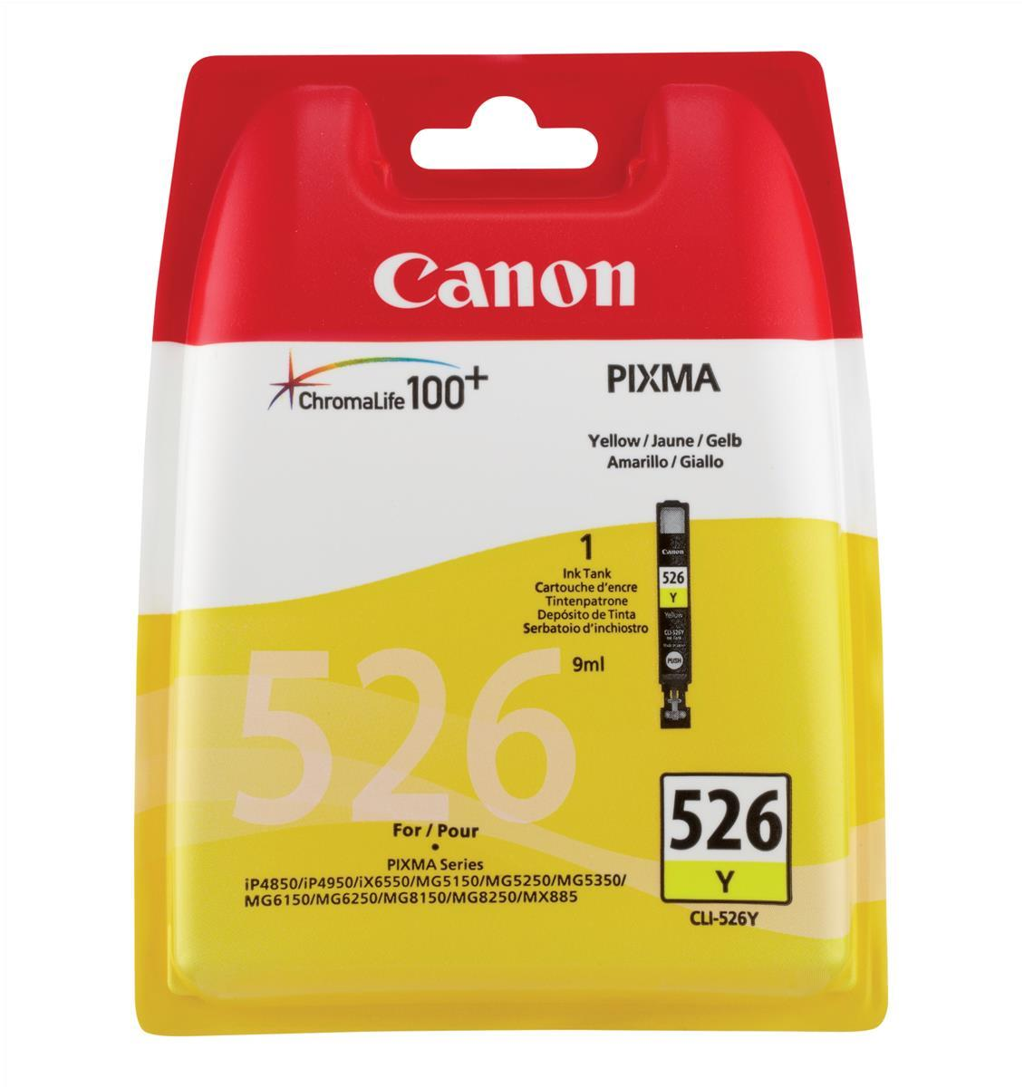 Canon CLI-526Y Inkjet Cartridge Page Life 202pp 9ml Yellow Ref 4543B001