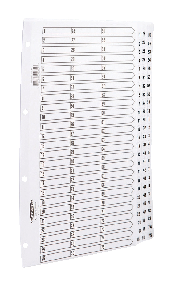 Concord Classic Index Mylar-reinforced Punched 4 Holes 1-75 A4 White Ref 05601/CS56