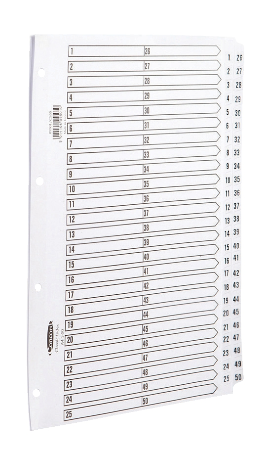 Image for Concord Classic Index Mylar-reinforced Punched 4 Holes 1-50 A4 White Ref 05501/CS55