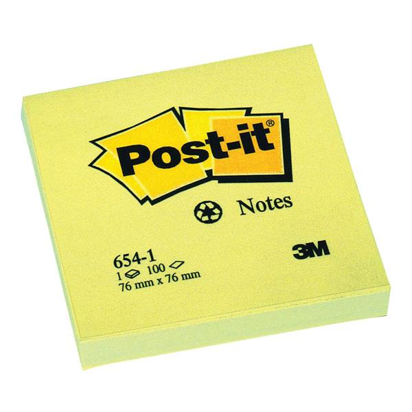Post-it Recycled Notes Pad of 100 76x76mm Yellow Ref 654-1YE [Pack 12]