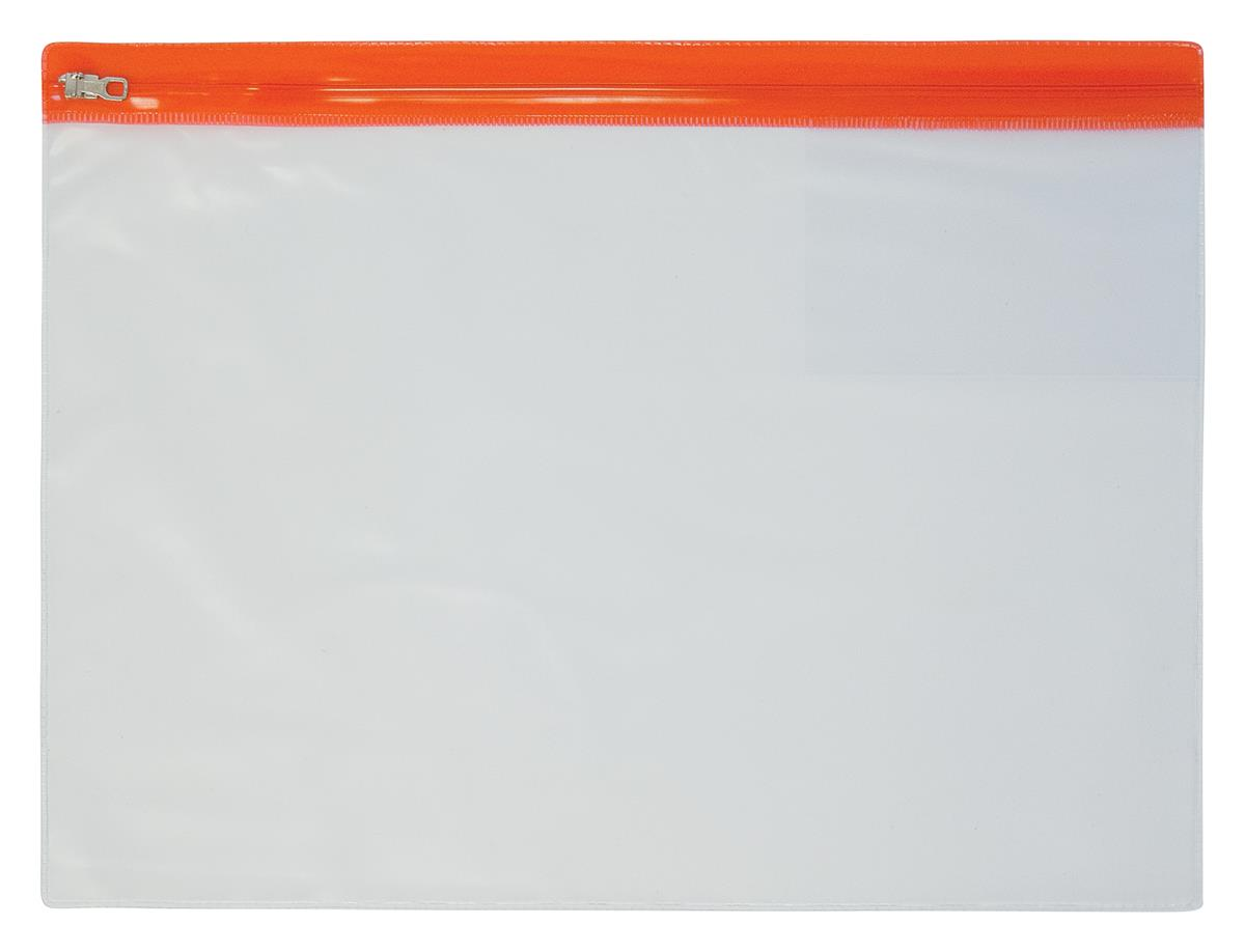 Image for Zip Pouch Heavy-duty PVC Clear with Coloured Seal A4 Assorted [Pack 10]