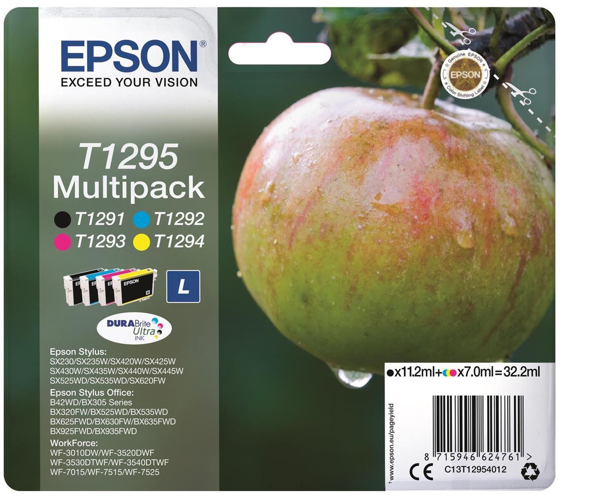 Epson T1295 Inkjet Cartridge Apple L Capacity 32.2ml C/M/Y/K Ref C13T12954012 [Pack 4]
