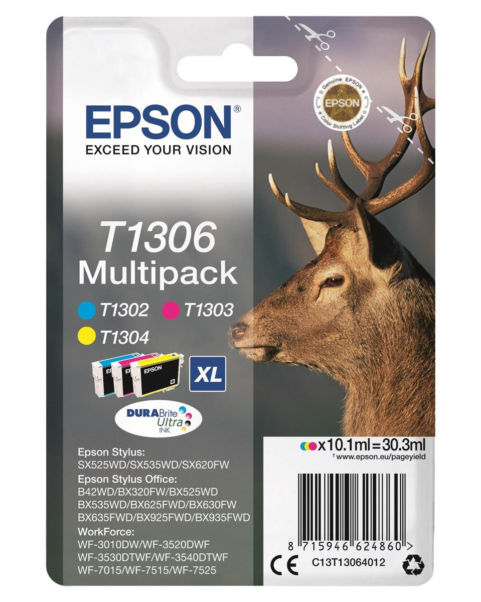 Epson T1306 Inkjet Cartridge Stag XL Capacity 30.3ml Cyan/Magenta/Yellow Ref C13T13064012 [Pack 3]