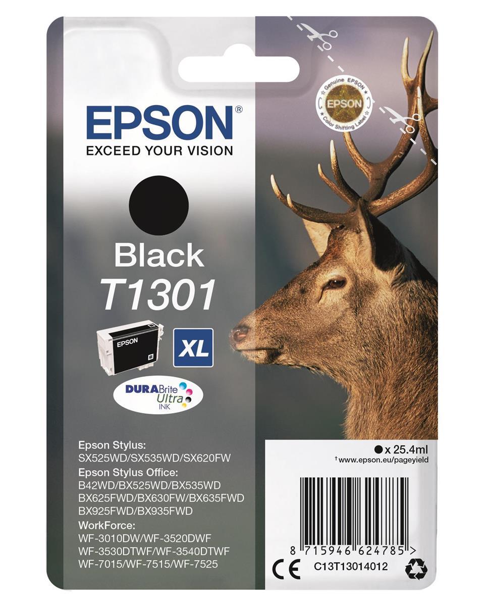 Epson T1301 Inkjet Cartridge DURABrite Stag XL Capacity 25.4ml Black Ref C13T13014012