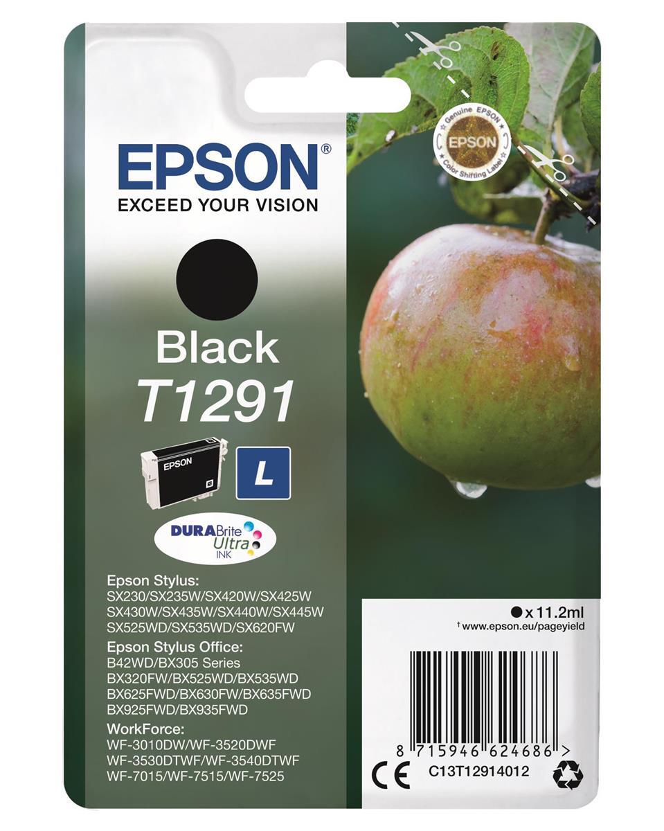 Epson T1291 Inkjet Cartridge DURABrite Apple L Capacity 11.2ml Black Ref C13T12914012