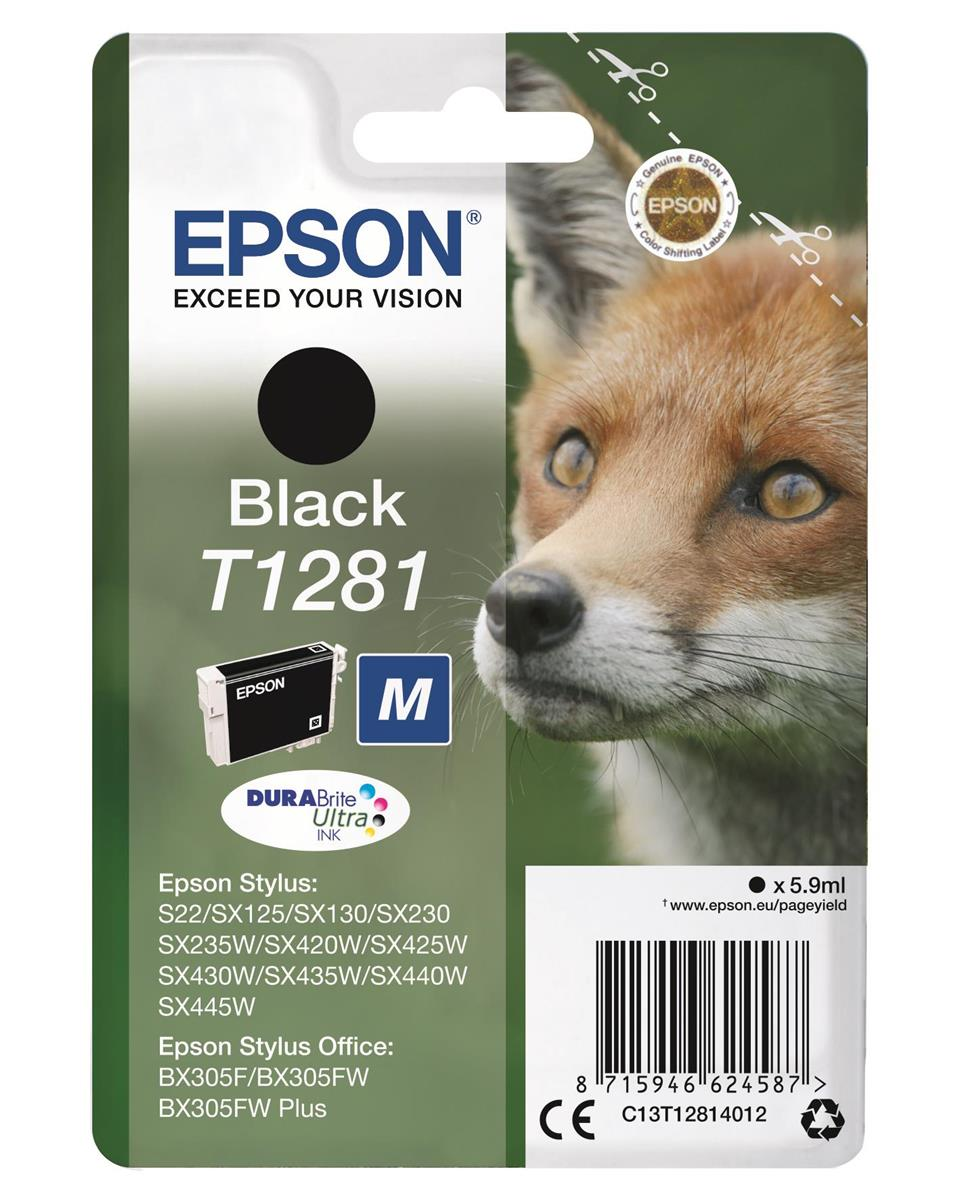 Epson T1281 Inkjet Cartridge DURABrite Fox Capacity 5.9ml Black Ref C13T12814012
