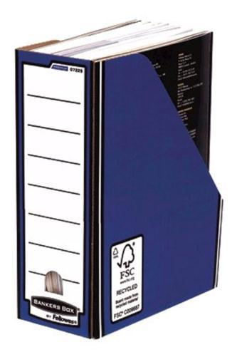 Image for Bankers Box by Fellowes Premium Magazine File Fastfold A4 Plus Blue and White Ref 0722906 [Pack 10]