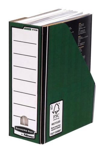 Image for Bankers Box by Fellowes Premium Magazine File Fastfold A4 Plus Green and White Ref 0723006 [Pack 10]