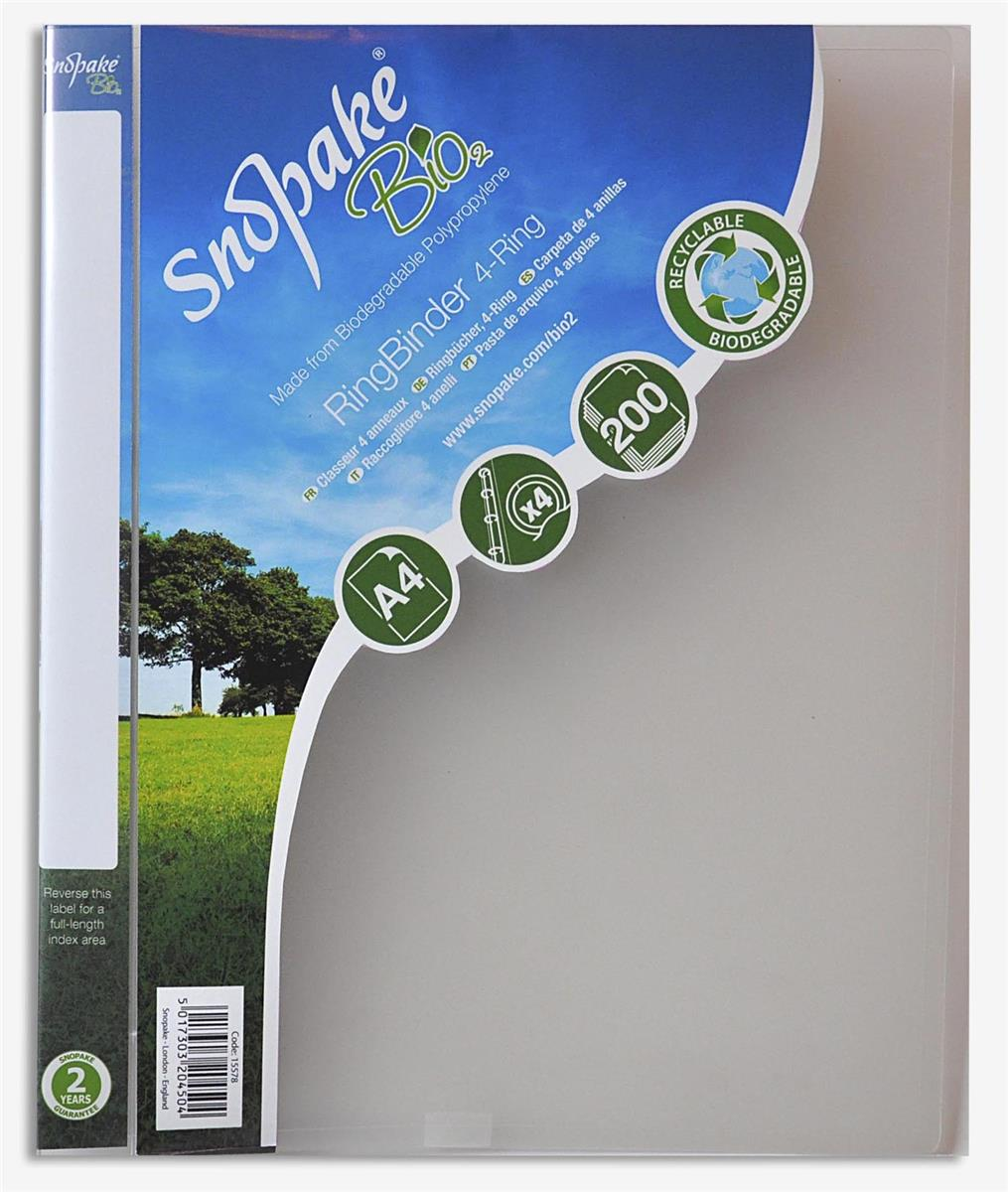 Image for Snopake Bio2 Ring Binder Biodegradable Polypropylene 2 O-Ring Size 25mm A4 Clear Ref 15431 [Pack 10]