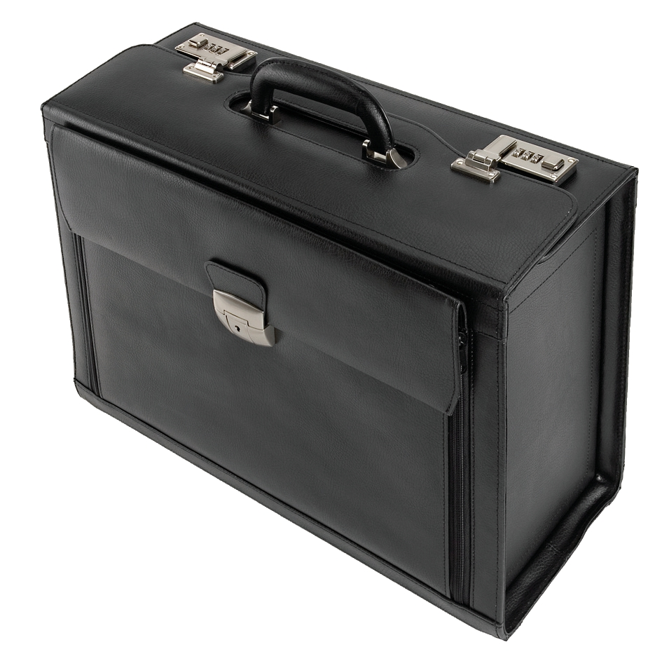 Image for Alassio Ferrara Pilot Case Leather Laptop Compartment 2 Combination Locks Black Ref 45045