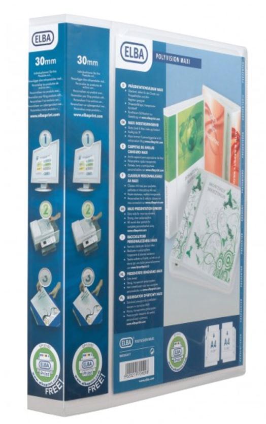 Image for Elba Polyvision Maxi Presentation Binder Polypropylene 4 D-Ring 30mm Clear A4 Ref 100201773 [Pack 10]