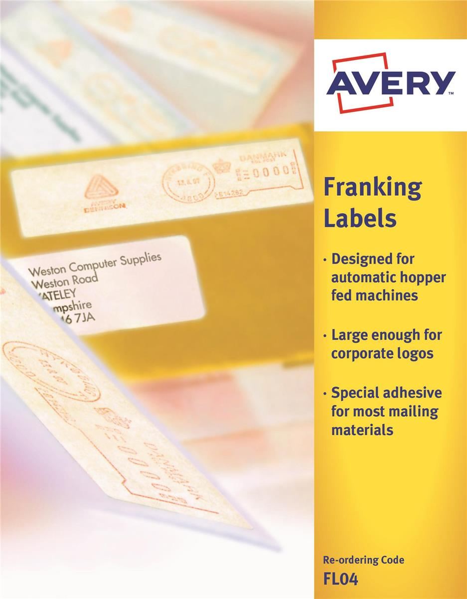 Image for Avery Auto Franking Labels 1 per Sheet 140x38mm White Ref FL04 [1000 Labels]
