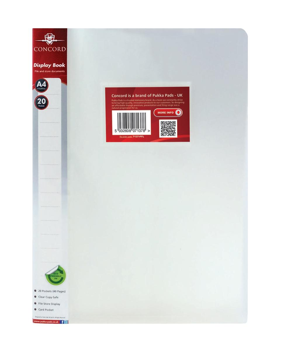 Image for Concord Display Book Polypropylene 20 Pockets A4 Clear Ref 7137-PFL [Pack 12]